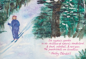 This self-portrait illustrates my love of cross-country skiing in a snowy and sparkly wooded winter wonderland.